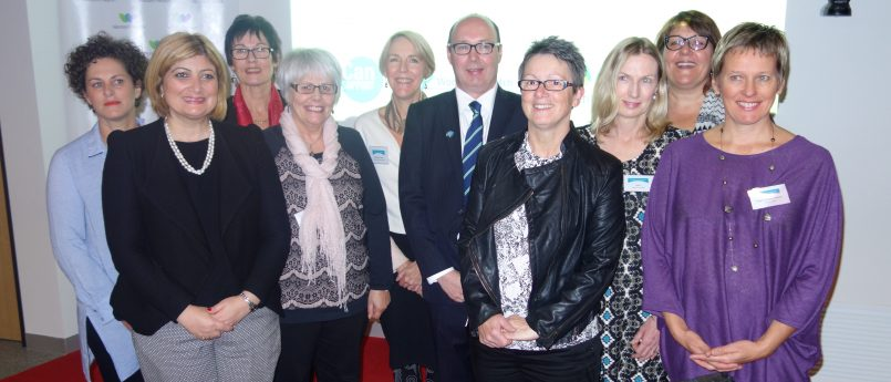 Photo of Natalie Suleyman, and other guests, with BreaCan staff and volunteers at the launch of Bridge of Support.