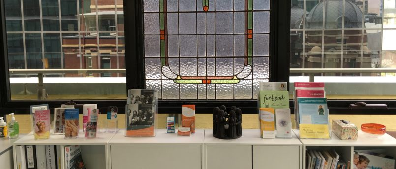 Some of the books and brochures on display in the Resource Centre.