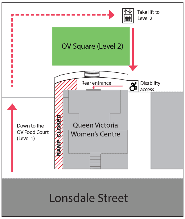 Map showing how to enter the Queen Victoria Women's Centre using the instructions above.